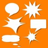 Cartoon style bubble speech quote box banner icon flyer. Illustration icon set isolated backgorund vector illustration