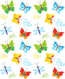 Cartoon Style Butterfly And Dragonfly Pattern. Colorful Butterflies In Vector. Nice Childish Background. Royalty Free Stock Photography