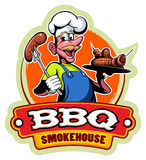 Cartoon style chef master in a cap, barbecue vector logo Royalty Free Stock Photography