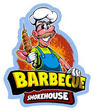 Cartoon style chef master in a cap, barbecue vector logo Royalty Free Stock Photo