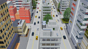 Cartoon style city downtown aerial view. Aerial view of street traffic in abstract city downtown with modern high rise buildings in cartoon style at daytime. 3D royalty free illustration