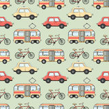 Cartoon style city transport seamless pattern Stock Photo
