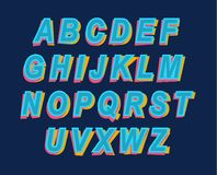 Cartoon Style Colorful Alphabet font for party invitation or eve Royalty Free Stock Photo