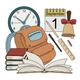 Cartoon style colorful school icons Royalty Free Stock Images