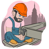 Cartoon style Construction Worker Stock Images