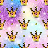 Cartoon style crowns seamless pattern background. Vector seamless pattern design background with trendy hipster gold crown cartoon style illustration. Textile Royalty Free Stock Image