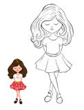 Cartoon style cute little child Royalty Free Stock Images