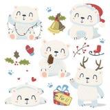 Cartoon style cute polar bear set Stock Photography