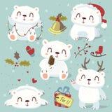 Cartoon style cute polar bear set Stock Photo