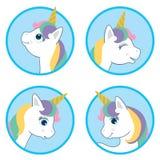 Cartoon Style Cute Unicorn Circle Design Set. Vector Illustration Isolated on White Background. Fantasy White Animal Vector Head w. Ith rainbow mane portrait royalty free illustration