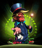 Cartoon style Donald Trump in magician hat with playing cards, card sharper. Stock Image