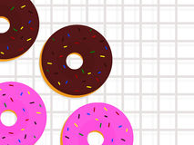 Cartoon style donut with  background. Cartoon style donut  with square line pattern background Royalty Free Stock Images