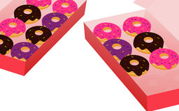 Cartoon style donut in box on white background. Colorful cartoon style donut in box on white background Royalty Free Stock Photos