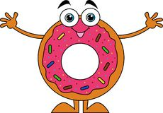 cartoon style donuts with pink icing royalty free illustration