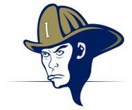 Cartoon style fireman. In helmet Stock Images