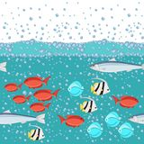 Cartoon style fish in the ocean with water bubbles 2d seamless pattern. Flat vector illustration Royalty Free Stock Photo