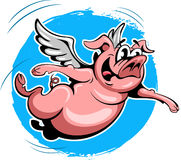 Cartoon style flying pig on the blue sky background Stock Photos