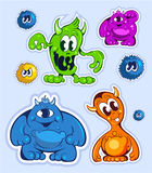 Cartoon style funny cute monsters set. Vector picture Stock Photo