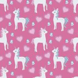 Cartoon style graphic illustration seamless pattern with cute cartoon style unicorns, hearts and butterflies on pink background stock illustration