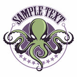 Cartoon style green octopus in a circle with stars on background. vector nautical logo. Cartoon style green octopus in a circle with stars on background. vector Royalty Free Stock Photo