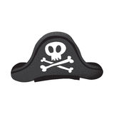 Cartoon style grunge classic pirate leather hat with skull and bones isolated vector illustration on white Royalty Free Stock Photos