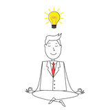 Cartoon style happy man in suit meditating and a idea bulb Stock Images