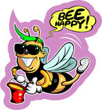 Cartoon style happy, smiling bee in sunglasses Royalty Free Stock Photo