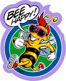 Cartoon style happy, smiling bee in sunglasses Royalty Free Stock Image