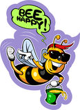 Cartoon style happy, smiling bee in sunglasses Royalty Free Stock Images