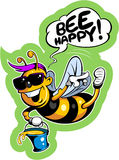 Cartoon style happy, smiling bee in sunglasses Royalty Free Stock Photos