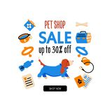 Cartoon style icons of a basset hound. Design template card or promotion banner for traveling with a dog. Text Pet Shop. Sale. Up to 30% off royalty free illustration