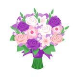 Cartoon style illustration of bridal bouquet. Vector cartoon style illustration of bridal bouquet. Isolated on white background Royalty Free Stock Photography