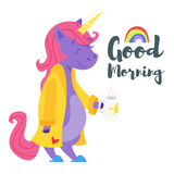 Cartoon style illustration of happy unicorn drinking tea in the morning. Stock Photo