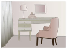 Cartoon-style illustration home office Stock Photos