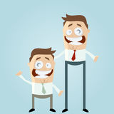 Short and tall men. A cartoon style illustration of a tall and a short businessmen Royalty Free Stock Photo