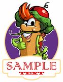 Cartoon style italian sandwich with vegetables, cheese and meat. Vector cartoon character, restaurant logo.  royalty free illustration