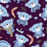 Cartoon style koala seamless pattern vector illustration