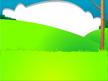 Cartoon style landscape. Cartoon style illustration of landscape with hills and cloud Royalty Free Stock Photos