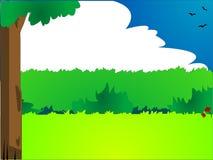 Cartoon style landscape. Large illustration of cartoon style landscape with tress, clouds and birds Stock Photos