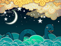 Cartoon style Loch Ness monster Royalty Free Stock Image
