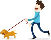Cartoon style man walking with dog dachshund. A man is walking a dog on a white background Royalty Free Stock Photography