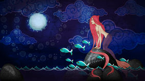 Cartoon style mermaid sitting on the stone in the night Royalty Free Stock Images