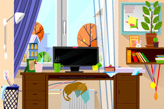 Cartoon style modern web site illustration of freelance work place in living room interior. Freelancer home office workplace. Cartoon style modern web site Stock Illustration