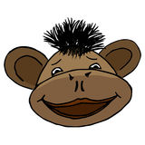 Cartoon style monkey head. Cartoon style head of monkey boy Stock Photography