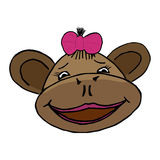 Cartoon style monkey head. Cartoon style head of monkey girl Stock Image