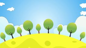 Cartoon style morning scene motion animation including clouds, sun rising, birds and trees