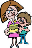 A cartoon style of a mother and her son with a cake Royalty Free Stock Image