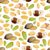 Cartoon style nuts seamless pattern - healthy food seamless texture design Stock Photo