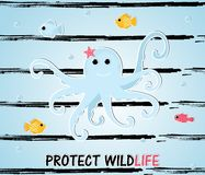 Cartoon style octopus with fishes vector illustration