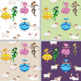 Cartoon-style pastoral  background with dancing shepherdesses Royalty Free Stock Image
